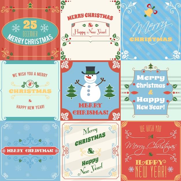 Joyeux noël et bonne année cartes de voeux Vecteur Premium