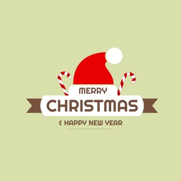Joyeux Noël Et Bonne Année Chapeau De Père Noël Carte De Voeux Fond Plat Vecteur gratuit
