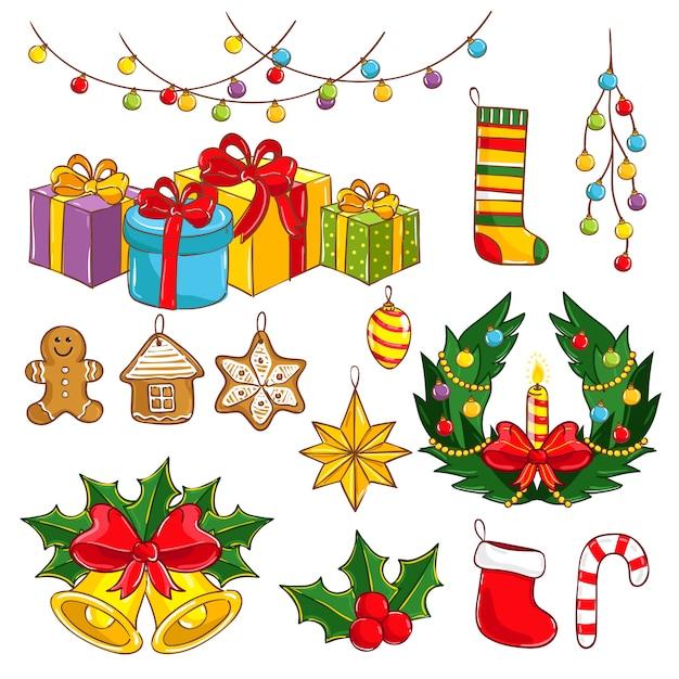 Joyeux noël et bonne année collection Vecteur Premium