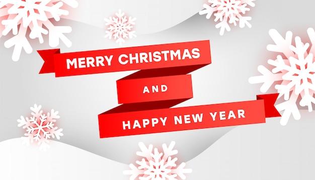 Joyeux noël et bonne année avec des flocons de neige blancs et des rubans rouges sur fond gris Vecteur Premium