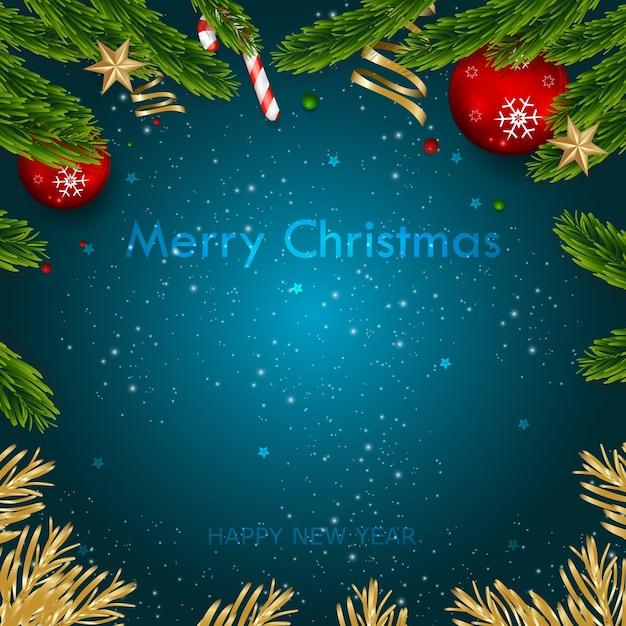 Vecteur Premium | Joyeux Noël Et Bonne Année Fond De Carte De Voeux.