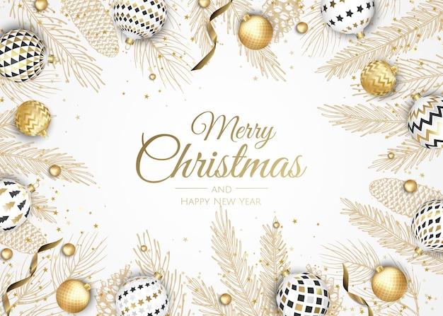 Joyeux Noel Et Bonne Année. Fond De Noël Avec Poinsettia, Flocons De Neige, étoile Et Boules. Carte De Voeux, Bannière De Vacances, Affiche Web Vecteur Premium