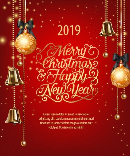 Joyeux noël, bonne année lettrage avec des boules et des cloches Vecteur gratuit