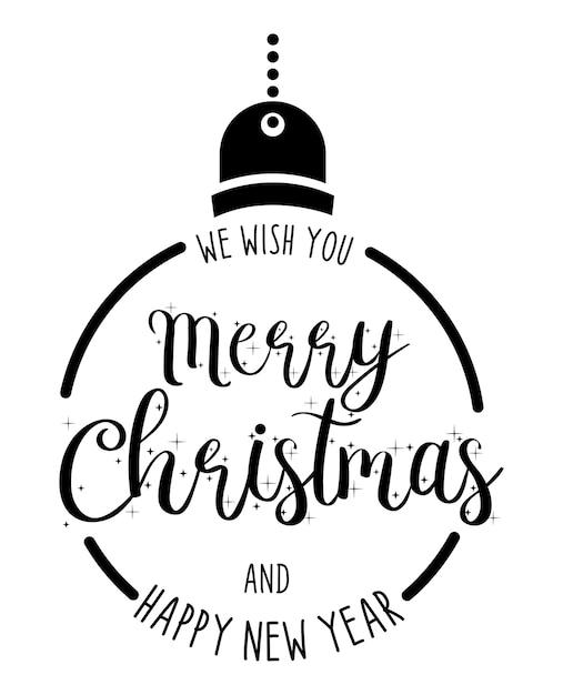 Joyeux Noël Et Bonne Année Lettrage Dessiné à La Main Conception De Cartes Ou Fond D'affiche. Vecteur Premium