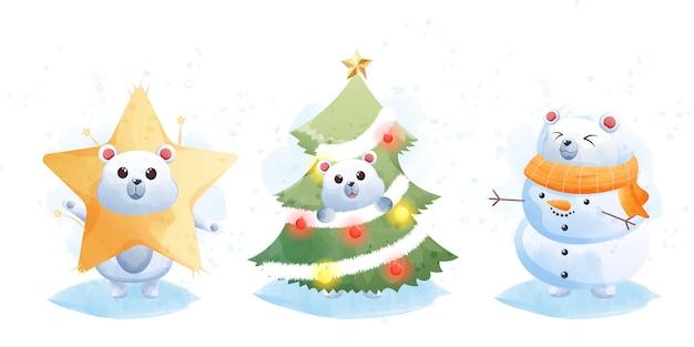 Joyeux Noël Et Bonne Année Avec Mignon Ours Polaire. Vecteur Premium