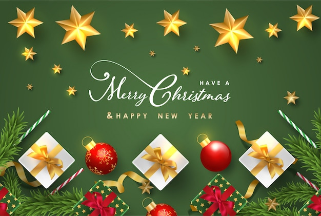 Joyeux noël et bonne année avec des objets festifs réalistes Vecteur Premium