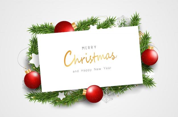 Joyeux noël et bonne année sur le panneau blanc. nettoyer le fond avec la typographie et les éléments. Vecteur Premium