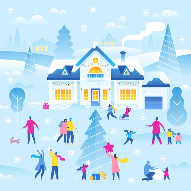 Joyeux noel et bonne année. paysage d'hiver Vecteur Premium