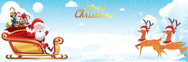 Joyeux Noël Et Bonne Année. Le Père Noël Monte Un Traîneau Avec Un Sac Vecteur Premium