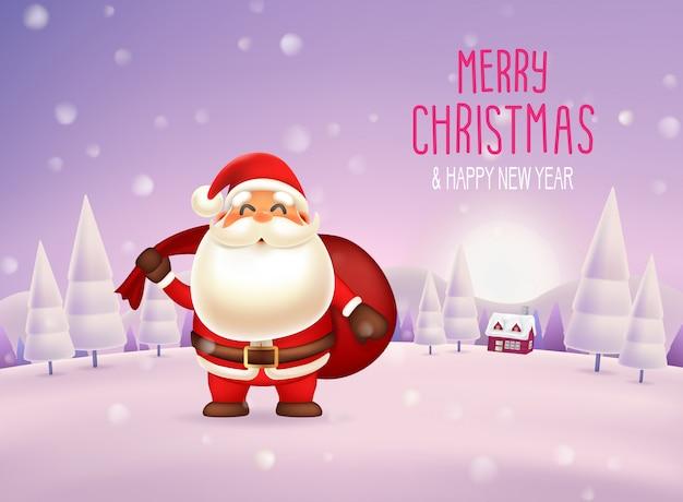 Joyeux noël et bonne année avec le personnage du père noël dans la scène de neige Vecteur Premium