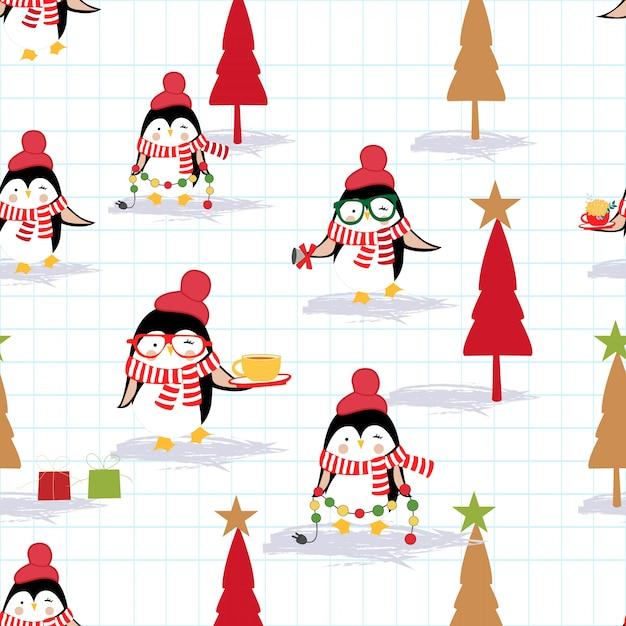 Joyeux noël et bonne année pingouin Vecteur Premium