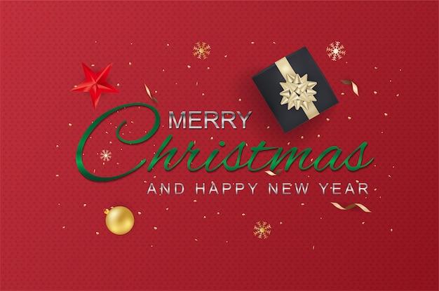 Joyeux noël et bonne année typographie et éléments. carte de voeux ou flyer modèle affiche ou invitation. Vecteur Premium