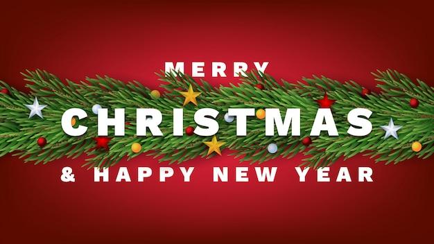 Joyeux noel et bonne année Vecteur Premium
