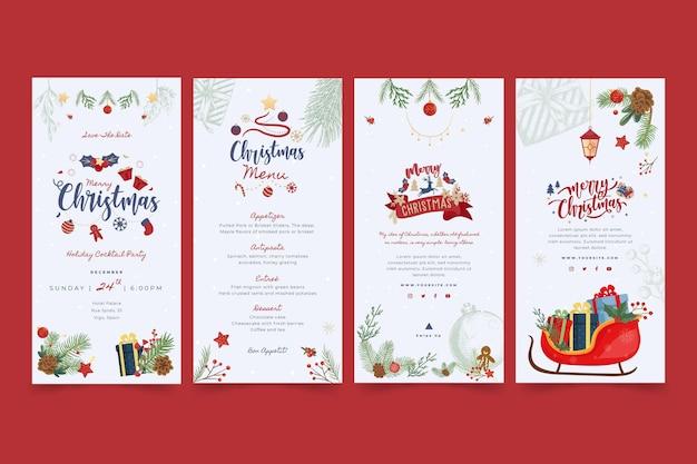 Joyeux Noël Et Bonnes Fêtes Instagram Stories Vecteur gratuit