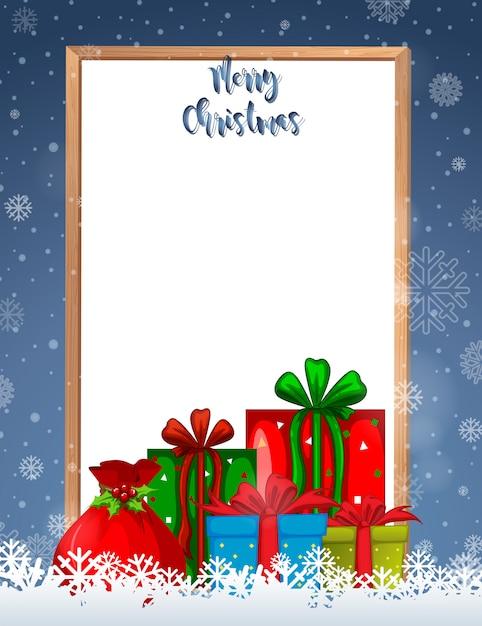 Joyeux Noël Cadre Avec Cadeaux Et Fond Vecteur gratuit