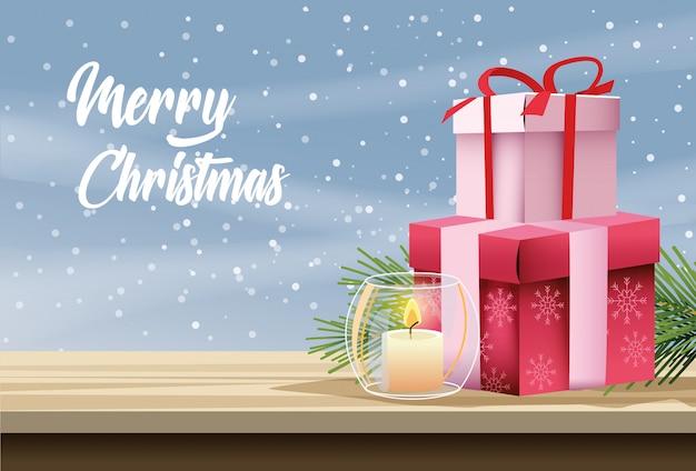 Joyeux noël carte avec bougie et cadeaux vector illustration design Vecteur Premium