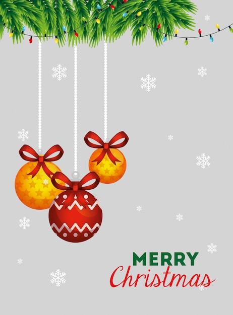 Joyeux noël carte avec boules décoratives suspendus Vecteur gratuit