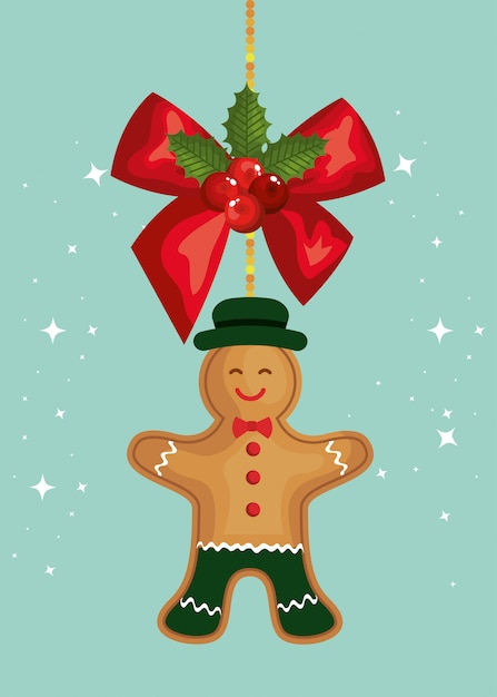 Joyeux noël carte avec bow et biscuits au gingembre suspendus Vecteur gratuit