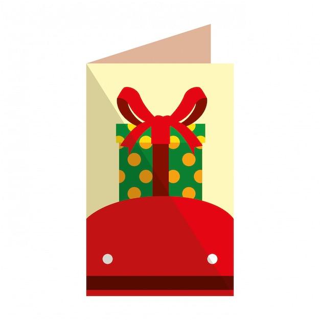 Joyeux noël carte avec cadeau Vecteur Premium