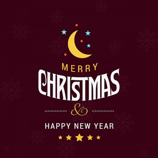 Joyeux Noël Carte Avec Fond Rouge Et Vecteur De Typographie Vecteur Premium
