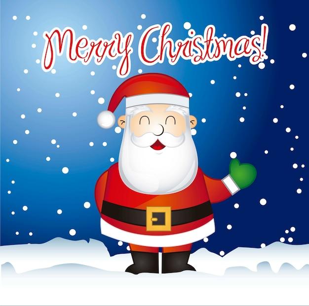Joyeux Noël Carte Avec Le Père Noël Au Cours De L'illustration Vectorielle De Neige Vecteur Premium