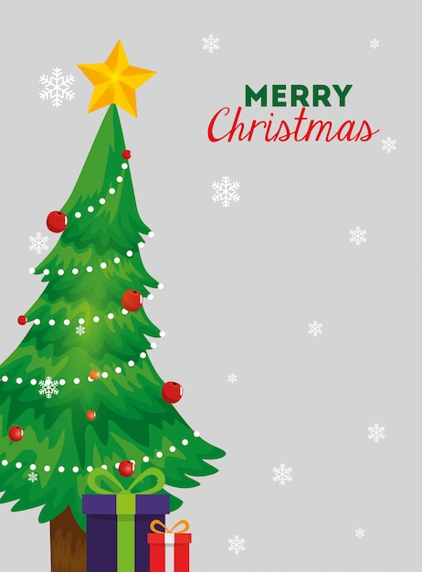 Joyeux noël carte avec pin et coffrets cadeaux Vecteur gratuit