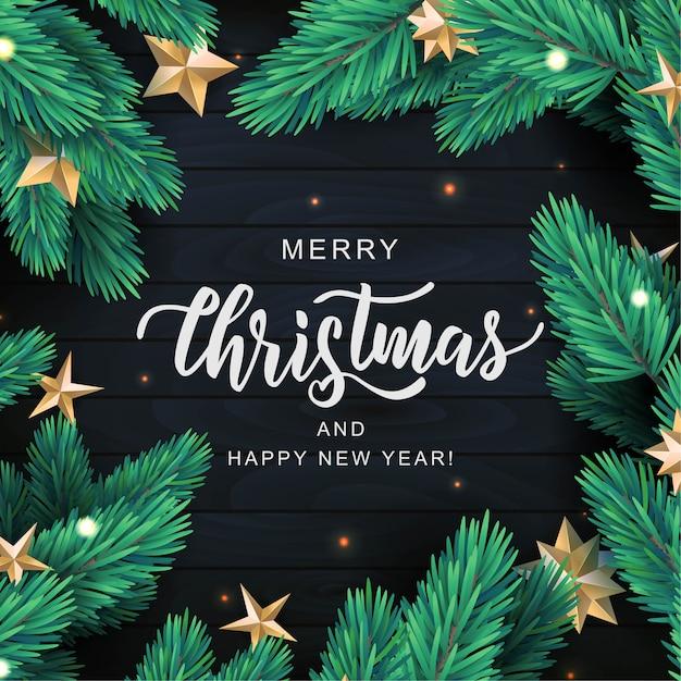 Joyeux Noël Carte De Texte De Lettrage à La Main. Branche De Pin Réaliste Avec Des étoiles D'or Sur Fond De Bois Noir. Vecteur Premium