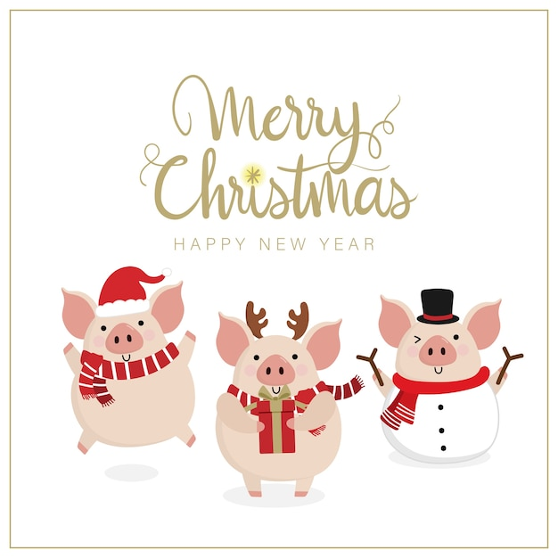 Joyeux noël carte de voeux avec cochon mignon Vecteur Premium