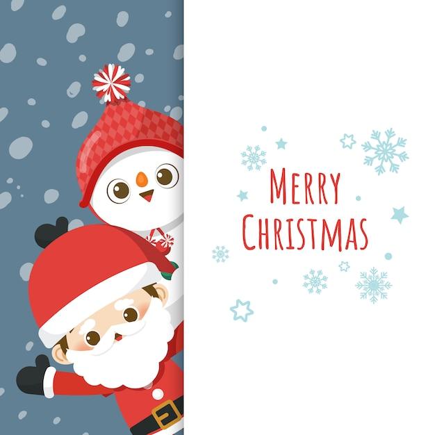 Joyeux noël carte de voeux avec personnage de dessin animé mignon petit père noël et bonhomme de neige Vecteur Premium