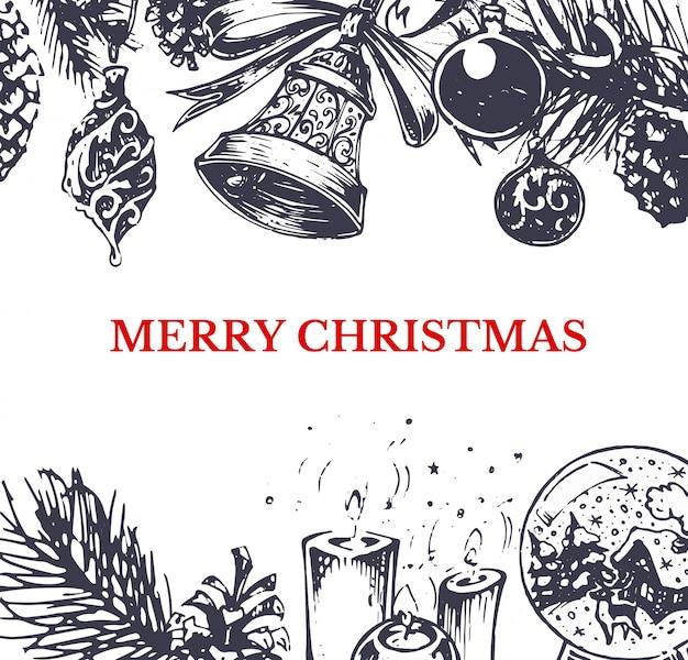Joyeux noël, carte de voeux de style dessiné à la main Vecteur Premium