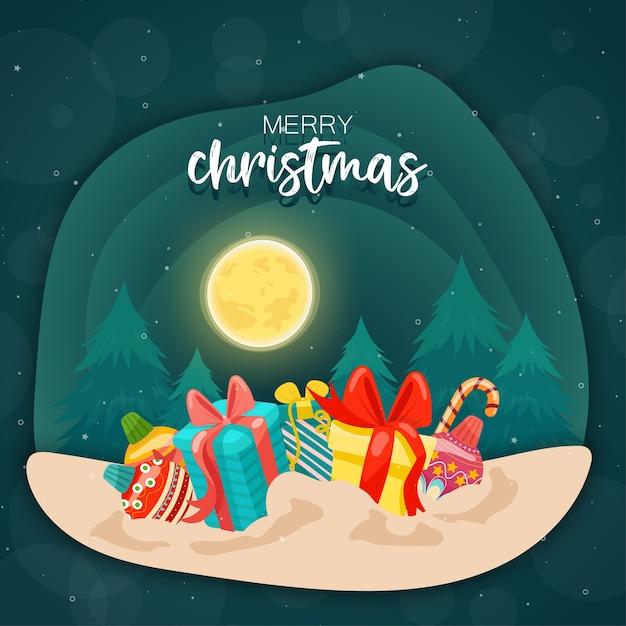Joyeux Noël Avec Coffrets Cadeaux Colorés Et Pin Vecteur gratuit