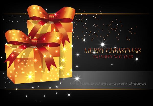 Joyeux Noël Avec La Conception D'affiche De Boîtes Cadeau Jaune Vecteur gratuit