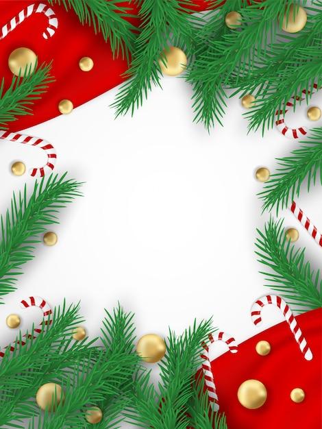 Joyeux Noël. Concevoir Avec Arbre De Noël, Boules Et Cannes De Bonbon Vecteur Premium