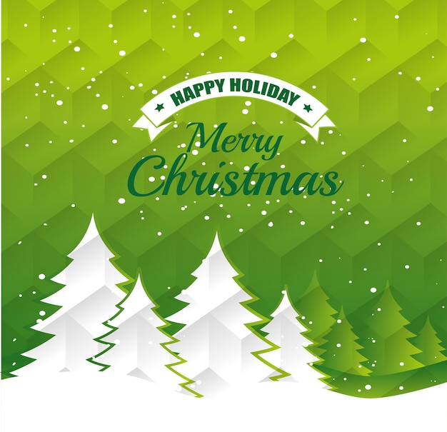 Joyeux Noël Décoratif Et Pin Vecteur Premium