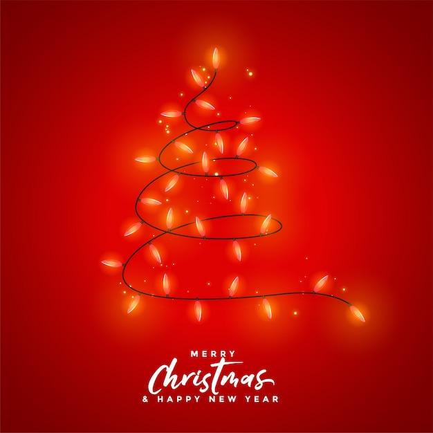 Joyeux noël, décoration de lumière rouge Vecteur gratuit