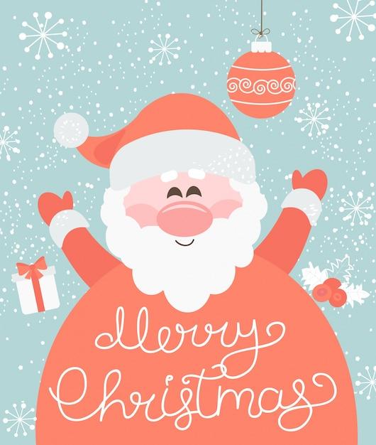 Joyeux Noël Du Père Noël. Vecteur Premium