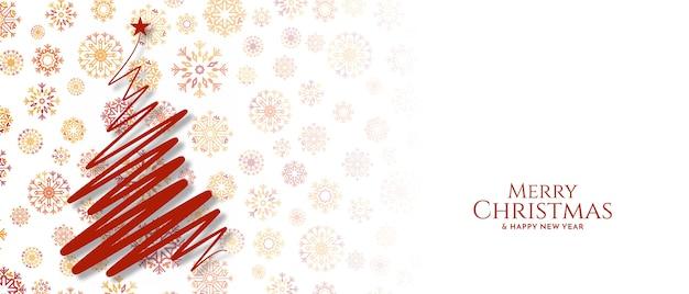 Joyeux Noël Festival Voeux Bannière Décorative Vecteur gratuit