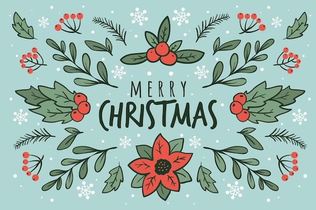 Joyeux Noël Avec Des Feuilles De Pin Et Du Gui Vecteur gratuit
