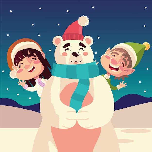 Joyeux Noël, Fille Heureuse Et Garçon Ours Polaire Avec Illustration De Célébration De Chapeau Vecteur Premium