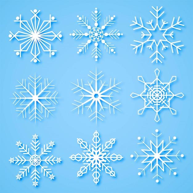 Joyeux Noël Flocons De Neige Créatifs Mis En Arrière-plan Vecteur gratuit