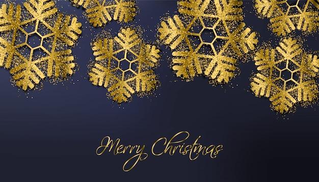 Joyeux Noël Flocons De Paillettes D'or Vecteur Premium