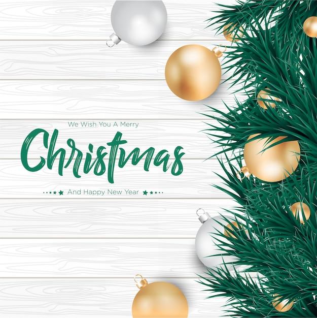 Joyeux Noël Avec Fond De Boules D'or Et D'argent Vecteur Premium