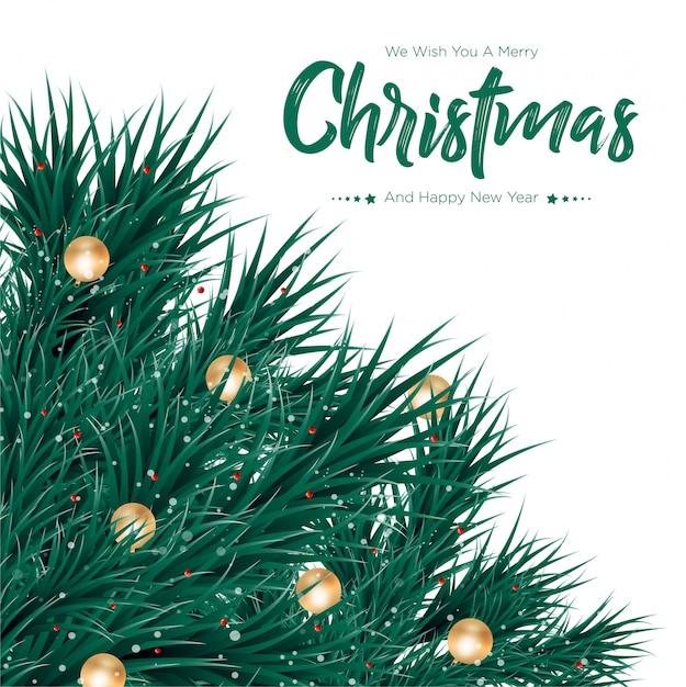 Joyeux Noël Avec Fond De Boules D'or Vecteur Premium