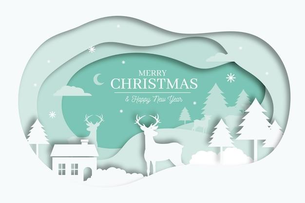 Joyeux Noël Fond Dans Le Concept De Style Papier Vecteur gratuit