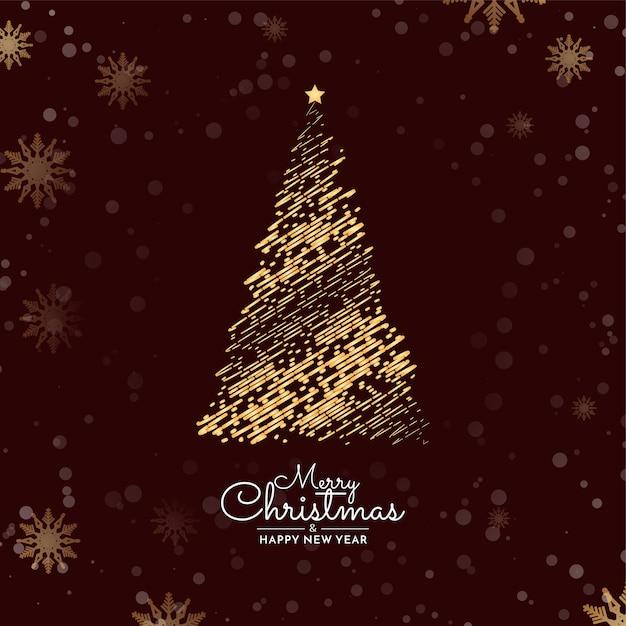 Joyeux Noël Fond Avec Un Design D'arbre Décoratif Vecteur gratuit