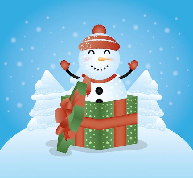 Joyeux noël fond avec personnage mignon bonhomme de neige Vecteur gratuit