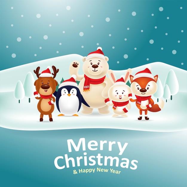 Joyeux noël heureuse nouvelle année! animaux mignons se rassemblant au bord du lac de neige Vecteur Premium