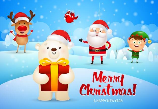 Joyeux noël illustration et ours polaire avec boîte-cadeau Vecteur gratuit
