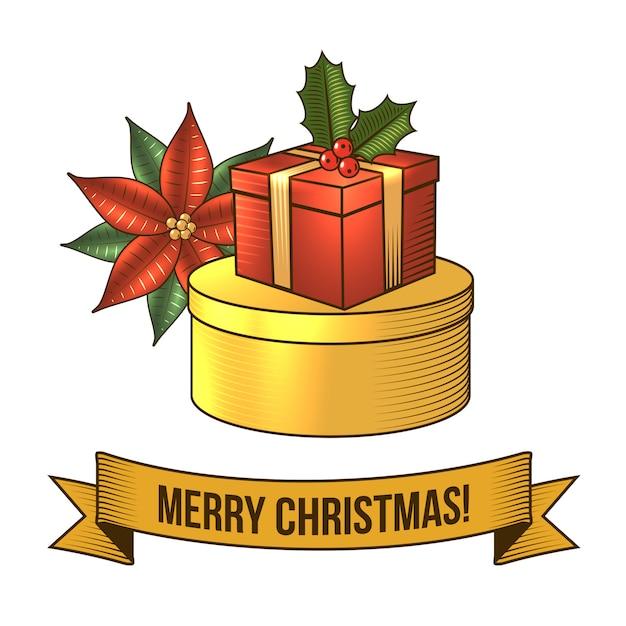 Joyeux noël avec illustration rétro de boîte cadeau Vecteur gratuit