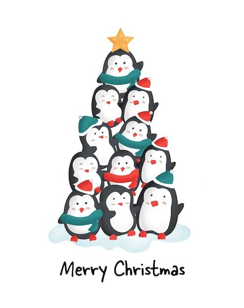 Joyeux Noël Avec De Jolis Pingouins. Vecteur Premium